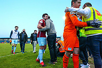 Sean Barron (right) and Jake Hegarty (centre) of Cobh Ramblers celebrate with club volunteers at full time.<br /> <br /> Cobh Ramblers v Cork City, SSE Airtricity League Division 1, 28/5/21, St. Colman's Park, Cobh.<br /> <br /> Copyright Steve Alfred 2021.