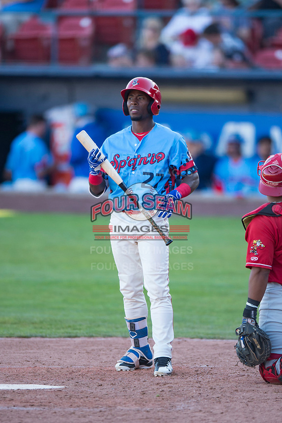 Spokane Indians center fielder Julio Pablo Martinez (27) at bat during a Northwest League game against the Vancouver Canadians at Avista Stadium on September 2, 2018 in Spokane, Washington. The Spokane Indians defeated the Vancouver Canadians by a score of 3-1. (Zachary Lucy/Four Seam Images)