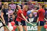GER - Luebeck, Germany, February 06: During the 1. Bundesliga Damen indoor hockey semi final match at the Final 4 between Berliner HC (blue) and Duesseldorfer HC (red) on February 6, 2016 at Hansehalle Luebeck in Luebeck, Germany. Final score 1-3 (HT 0-1). (Photo by Dirk Markgraf / www.265-images.com) *** Local caption *** Elisa Graeve #26 of Duesseldorfer HC is congratulated by teammates after scoring