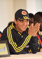 BOGOTA -COLOMBIA-05-02-2013: Juan Fernando Quintero, Jugador de la selección Colombia de fútbol Sub-20 durante rueda de prensa en Bogotá, febrero 5 de 2013. La selección Colombia Sub-20 campeona del suramericano  2013, después de 8 años volvió a alzar el máximo trofeo suramericano de la categoría por tercera ocasión. (Foto: VizzorImage / Luis Ramírez / Staff) Juan Fernando Quintero,  player of the Colombia U-20, during a press conference in Bogota, February  5, 2013. Juan Fernando Quintero, player of the Colombia U-20 team champion of the South American 2013, after 8 years he returned to raise the maximum trophy of the category of South American for the third time.(Photo : VizzorImage / Lus Ramírez / Staff)