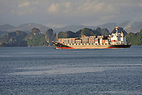 Container ship in Halong Bay, Vietnam