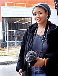 WATERBURY CT. - 09 January 2020-011121SV05-Mya Gray of Waterbury outside the Mattatuck Museum in Waterbury Monday. Mya a local college student produced a documentary about successful African-American entrepreneurs.<br /> Steven Valenti Republican-American