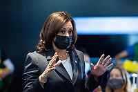 United States Vice President Kamala Harris visits the M&T Bank Stadium Mass Vaccination Site on her 100th day in office in Baltimore, Maryland, USA, 29 April 2021.<br /> CAP/MPI/RS<br /> ©RS/MPI/Capital Pictures