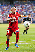 Christophe Jallet (26) of Paris Saint-Germain. Chelsea FC and Paris Saint-Germain played to a 1-1 tie during a 2012 Herbalife World Football Challenge match at Yankee Stadium in New York, NY, on July 22, 2012.