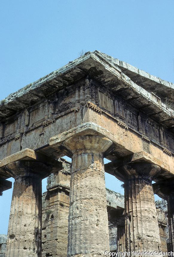 Italy: Paestum--Temple of Hera II, Cornice. Photo '83.