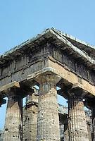 Italy: Paestum--Temple of Hera II, Cornice. Photo '83.