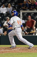 St. Lucie Mets designated hitter Brandon Allen (49), on rehab assignment, at bat during a game against the Fort Myers Miracle on April 18, 2014 at Hammond Stadium in Fort Myers, Florida.  St. Lucie defeated Fort Myers 15-9.  (Mike Janes/Four Seam Images)