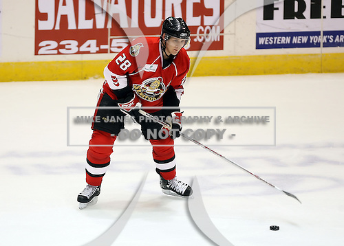 February 22nd 2008:  Lawrence Nycholat (28) of the Binghamton Senators controls the puck during a game vs. the Rochester Amerks at Blue Cross Arena at the War Memorial in Rochester, NY.  The Senators defeated the Amerks 4-0.   Photo copyright Mike Janes Photography