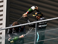 30th August 2020, Spa Francorhamps, Belgium, F1 Grand Prix of Belgium , Race Day;  77 Valtteri Bottas FIN, Mercedes-AMG Petronas Formula One Team, 44 Lewis Hamilton GBR celebrates with champagne