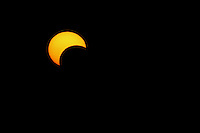 """I documented this rare solar """"annular"""" eclipse on May 20th, 2012 @ 8:15pm. This partial view was visible low on the horizon here in the Hill country of Central Texas.."""