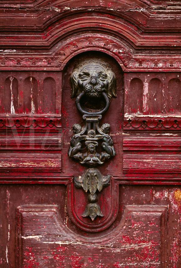 SAN AGUSTIN CATHOLIC CHURCH DOOR made of CARVED WOOD with BRONZE KNOCKER - QUITO, ECUADOR