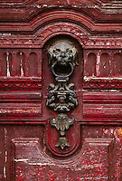 SAN AGUSTIN CATHOLIC CHURCH DOOR made of CARVED WOOD with BRONZE KNOCKER - QUITO, ECUADOR
