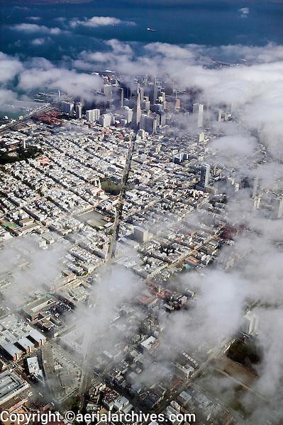 aerial photograph of Columbus Avenue toward the San Francisco financial district through the fog, San Francisco, California