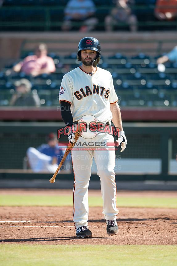 Scottsdale Scorpions designated hitter Matt Winn (16), of the San Francisco Giants organization, during an Arizona Fall League game against the Surprise Saguaros at Scottsdale Stadium on October 26, 2018 in Scottsdale, Arizona. Surprise defeated Scottsdale 3-1. (Zachary Lucy/Four Seam Images)