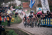 World Champion Peter Sagan (SVK/Bora-Hansgrohe), Tiesj Benoot (BEL/Lotto-Soudal), Sep Vanmarcke (BEL/Education First-Drapac), Greg Van Avermaet (BEL/BMC), Zdenek Stybar (CZE/Quick-Step Floors) are all packed together in the chase behind the 2 race leaders  in the final climb up the Paterberg.<br /> <br /> 102nd Ronde van Vlaanderen 2018 (1.UWT)<br /> Antwerpen - Oudenaarde (BEL): 265km