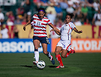 Sydney Leroux, Daniela Cruz.  The USWNT defeated Costa Rica, 8-0, during a friendly match at Sahlen's Stadium in Rochester, NY.