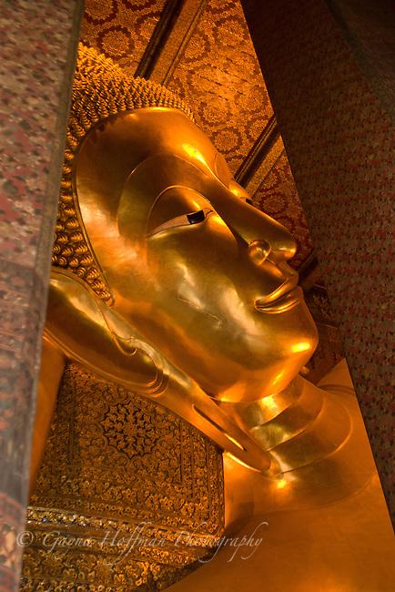 Head of the Reclining Buddha, Wat, Phra Kaew, Bangkok, Thailand