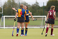 Upminster celebrate their first goal during Upminster HC Ladies vs Wapping HC Ladies 2nd XI, East Region League Field Hockey at the Coopers Company and Coborn School on 10th October 2020