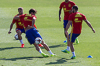 Spanish  Javi Martinez and Cesar Azpilicueta during the second training of the concentration of Spanish football team at Ciudad del Futbol de Las Rozas before the qualifying for the Russia world cup in 2017 August 30, 2016. (ALTERPHOTOS/Rodrigo Jimenez) /NORTEPHOTO