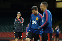 Spain's Manager Luis Enrique (L) during the pre-International Friendly training session of the Spain squad at the Principality Stadium, Cardiff, UK. Wednesday 10 October 2018