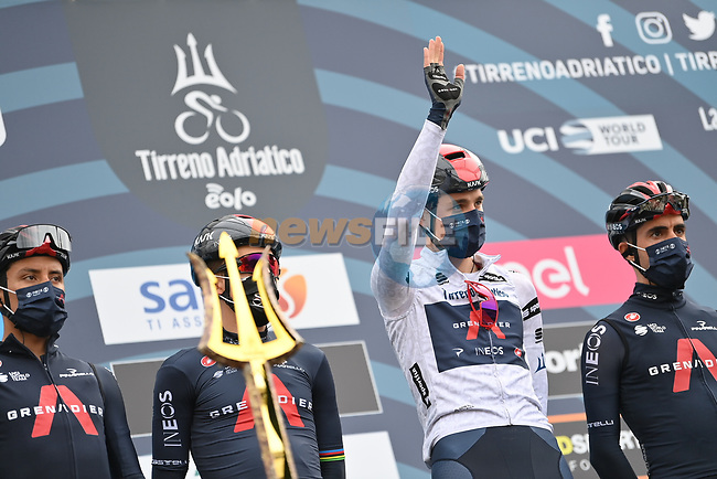 Maglia Bianca Pavel Sivakov (RUS) Ineos Grenadiers at sign on before the start of Stage 3 of Tirreno-Adriatico Eolo 2021, running 219km from Monticiano to Gualdo Tadino, Italy. 12th March 2021. <br /> Photo: LaPresse/Gian Mattia D'Alberto | Cyclefile<br /> <br /> All photos usage must carry mandatory copyright credit (© Cyclefile | LaPresse/Gian Mattia D'Alberto)