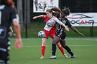 Summer Rogiers (8) of Zulte Waregem and Manyima Stevelmans (34) of Sporting du Pays de Charleroi pictured during a female soccer game between Sporting Charleroi and SV Zulte-Waregem on the third matchday in the 2021 - 2022 season of Belgian Scooore Womens Super League , friday 3 September 2021 in Marcinelle , Belgium . PHOTO SPORTPIX | STIJN AUDOOREN