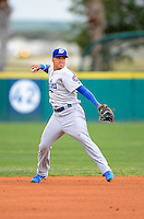 Daytona Cubs shortstop Javier Baez #12 during a game against the Brevard County Manatees at Spacecoast Stadium on April 5, 2013 in Melbourne, Florida.  Daytona defeated Brevard County 8-0.  (Mike Janes/Four Seam Images)