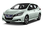 2018 Nissan Leaf Tekna 5 Door Hatchback angular front stock photos of front three quarter view