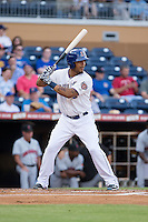 Desmond Jennings (13) of the Durham Bulls at bat against the Indianapolis Indians at Durham Bulls Athletic Park on August 4, 2015 in Durham, North Carolina.  The Indians defeated the Bulls 5-1.  (Brian Westerholt/Four Seam Images)