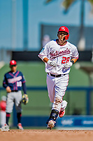 2 March 2019: Washington Nationals catcher Kurt Suzuki rounds the bases after hitting a 2-run homer in the 5th inning of a Spring Training game against the Minnesota Twins at the Ballpark of the Palm Beaches in West Palm Beach, Florida. The Nationals defeated the Twins 10-6 in Grapefruit League play. Mandatory Credit: Ed Wolfstein Photo *** RAW (NEF) Image File Available ***