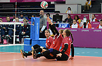Jennifer Oakes, Danielle Ellis, and Felicia Voss-Shafiq, Lima 2019 - Sitting Volleyball // Volleyball assis.<br /> Canada competes in women's Sitting Volleyball // Canada participe au volleyball assis féminin. 26/08/2019.