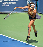 August 15,2019:   Aryna Sabalenka (BLR) loses to Maria Sakkari (GRE) 6-7, 6-4, at the Western & Southern Open being played at Lindner Family Tennis Center in Mason, Ohio.  ©Leslie Billman/Tennisclix/CSM