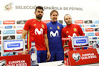 Spain's coach Julen Lopetegui with Diego Costa (l) and Andres Iniesta (r) in press conference before training session. March 23,2017.(ALTERPHOTOS/Acero)