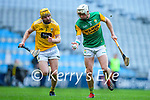 Shane Nolan, Kerry in action against Phelim Duffin, Antrim during the Joe McDonagh Cup Final match between Kerry and Antrim at Croke Park in Dublin.