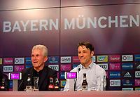 28.04.2018, Football 1. Bundesliga 2017/2018, 32.  match day, FC Bayern Muenchen - Eintracht Frankfurt, in Allianz-Arena Muenchen. re: Trainer Niko Kovac (Eintracht Frankfurt) and Trainer Jupp Heynckes (li, FC Bayern Muenchen) auf PK  gut gelaunt. *** Local Caption *** © pixathlon<br /> <br /> +++ NED out !!! +++<br /> Contact: +49-40-22 63 02 60 , info@pixathlon.de