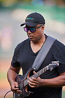 Bernie Williams of the New York Yankees visits Smith's Ballpark and plays the National Anthem on August 13, 2018 in Salt Lake City, Utah. Salt Lake defeated El Paso 4-3. (Stephen Smith/Four Seam Images)