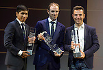 Nairo Quintana (COL), Alejandro Valverde and Joaquim Rodriguez (ESP) on stage at the UCI Gala Dinner held in the Yas Marina Hotel, Abu Dhabi. 11th October 2015.<br /> Picture: ANSA/Claudio Peri, Angelo Carconi | Newsfile