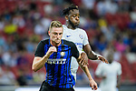 FC Internazionale Defender Milan Skriniar (L) fights for the ball with Chelsea Forward Michy Batshuayi during the International Champions Cup 2017 match between FC Internazionale and Chelsea FC on July 29, 2017 in Singapore. Photo by Weixiang Lim / Power Sport Images