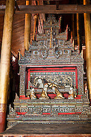 Myanmar, Burma.  Reclining Buddha Shrine in the Nga Hpe Kyaung (Jumping Cat) Monastery, Inle Lake, Shan State.