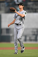 Starting pitcher Garrett Cave (46) of the Augusta GreenJackets in a game against the Columbia Fireflies on Friday, April 6, 2018, at Spirit Communications Park in Columbia, South Carolina. Columbia won, 7-2. (Tom Priddy/Four Seam Images)