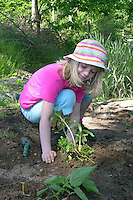 Schulgarten, Anlage eines Schmetterlingsgarten, Garten der Grundschule Nusse wird als Projektarbeit von einer 1. Klasse gestaltet, Mädchen arbeitet in Beet, Gartenarbeit