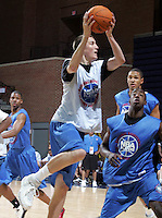 C/F Miles Plumlee (Arden, NC / Christ School) shoots the ball during the NBA Top 100 Camp held Thursday June 21, 2007 at the John Paul Jones arena in Charlottesville, Va. (Photo/Andrew Shurtleff)