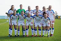 20190227 - LARNACA , CYPRUS : Lucie Vonkova (9) , Alexandra Vanickova (23) , Petra Bertholdova (4) , Klara Cahynova (12) , Irena Martinkova (8) , Pavlina Nepokojova (20) , Tereza Szewieczkova (17) , Eva Bartonova (6) , Kamila Dubcova (11) , Jitka Chlastakova (18) , Petra Vystejnova (14)  - Czech Republic team pictured during a women's soccer game between Korea DPR and Czech Republic , on Wednesday 27 February 2019 at the GSZ Stadium in Larnaca , Cyprus . This is the first game in group A for both teams during the Cyprus Womens Cup 2019 , a prestigious women soccer tournament as a preparation on the Uefa Women's Euro 2021 qualification duels and the Fifa World Cup France 2019. PHOTO SPORTPIX.BE | STIJN AUDOOREN