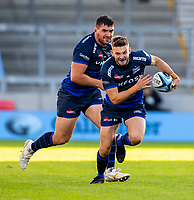 9th September 2020; AJ Bell Stadium, Salford, Lancashire, England; English Premiership Rugby, Sale Sharks versus Sracens; Will Cliff of Sale Sharks runs with the ball