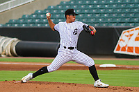 Jackson Generals pitcher Bo Takahashi (43) delivers a pitch during a Southern League game against the Biloxi Shuckers on July 26, 2018 at The Ballpark at Jackson in Jackson, Tennessee. Jackson defeated Biloxi 9-5. (Brad Krause/Four Seam Images)