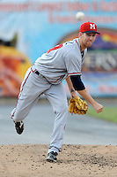 Mississippi Braves pitcher Zeke Spruill #57 warms up in the bullpen during the Southern League All-Star Game  at Smokies Park on June 19, 2012 in Kodak, Tennessee.  The South Division defeated the North Division 6-2. (Tony Farlow/Four Seam Images).