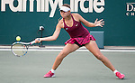 Evgeniya Rodina (RUS) loses to Angelique Kerber, (GER) 3-6, 6-3, 6-4  at the Family Circle Cup in Charleston, South Carolina on April 7, 2015.