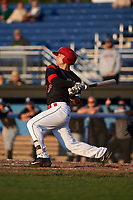 Batavia Muckdogs third baseman Bubba Hollins (34) at bat during a game against the West Virginia Black Bears on August 5, 2017 at Dwyer Stadium in Batavia, New York.  Batavia defeated West Virginia 3-2.  (Mike Janes/Four Seam Images)