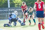 Mannheim, Germany, October 18: During the 1. Bundesliga women fieldhockey match between Mannheimer HC (red) and Uhlenhorst Muelheim (green) on October 18, 2020 at Am Neckarkanal in Mannheim, Germany. Final score 1-0 (HT 0-0). (Copyright Dirk Markgraf / www.265-images.com) *** Nadine Kanler #4 of Mannheimer HC, Terese Correia #99 of Uhlenhorst Muelheim