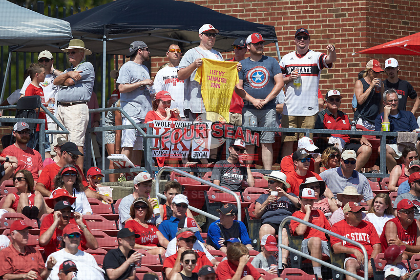 North Carolina State Wolfpack fans cheer for their baseball team during the game against the Army Black Knights at Doak Field at Dail Park on June 3, 2018 in Raleigh, North Carolina. The Wolfpack defeated the Black Knights 11-1. (Brian Westerholt/Four Seam Images)